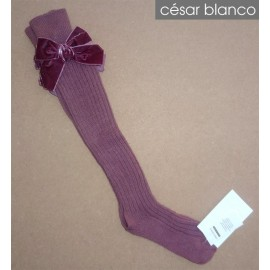 Cesar Blanco Winter Girl High Socks Dark Pink