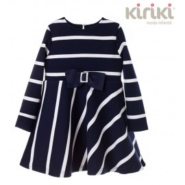 Kiriki Winter Girl Dress Striped Navy