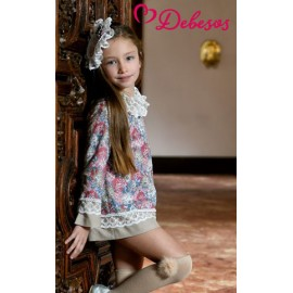 Debesos Winter Girl Dress Flowers and Camel Straight