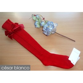 Cesar Blanco Winter Girl High Socks Red Drawing