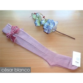 Cesar Blanco Winter Girl High Socks Pink Drawing