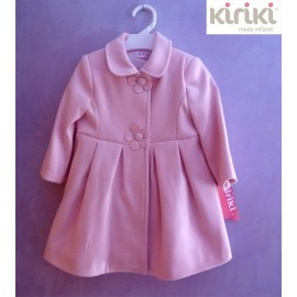 Kiriki Winter Baby Girl Coat Pink Flower Button