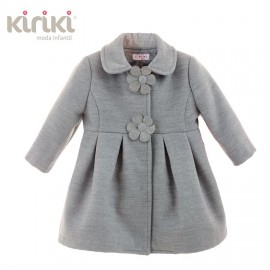 Kiriki Winter Baby Girl Coat Gray Flower Button