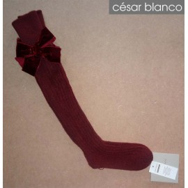 Cesar Blanco Winter Girl High Socks Wine Narrow Ribbed