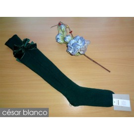 Cesar Blanco Winter Girl High Socks Dark Green Drawing