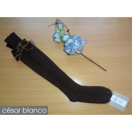 Cesar Blanco Winter Girl High Socks Brown Drawing