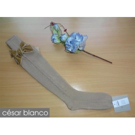 Cesar Blanco Winter Girl High Socks Camel Drawing
