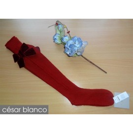 Cesar Blanco Winter Girl High Socks Dark Red Drawing