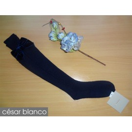 Cesar Blanco Winter Girl High Socks Navy Drawing