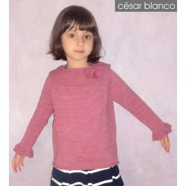 Cesar Blanco Winter Girl Sweater Pink Ruffle