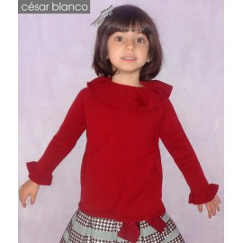Cesar Blanco Winter Girl Sweater Dark Red Ruffle