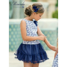 Miranda Summer Girl Dress Butterflies Navy