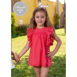 Mon Petit Bonbon Summer Girl Dress Coral Plumetis