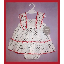 Mon Petit Bonbon Summer Baby Girl Set White with Spots