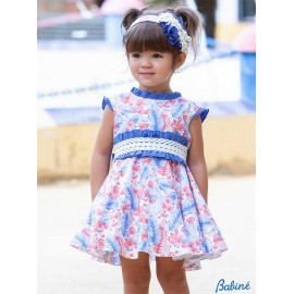 Babiné Summer Girl Dress Red Blue High Waist