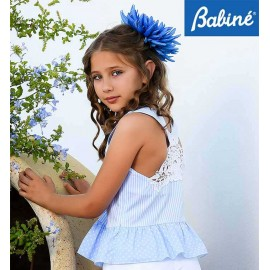 Babiné Summer Girl Set Blue Shirt White Shorts