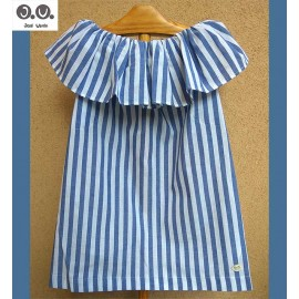 José Varón Summer Girl Dress Blue Stripes