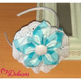 Debesos Summer Girl Diadem Turquoise and White