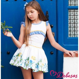 Debesos Summer Girl Set White and Flowers