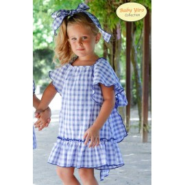 BabyYiro Summer Girl Dress Blue Squares