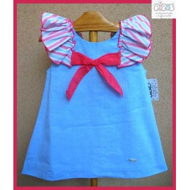 Pipos Summer Girl Dress Blue with Stripes