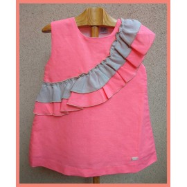 Pipos Summer Girl Dress Coral with Ruffles