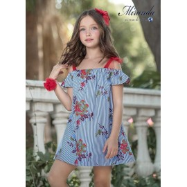 Miranda Summer Girl Dress Stripes and Flowers