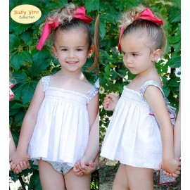 BabyYiro Summer Baby Girl Set White and Flowers