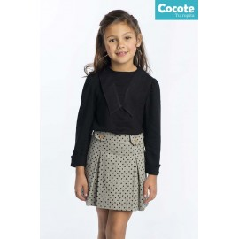 Cocote Winter Girl Set Black Shirt Skirt with Spots