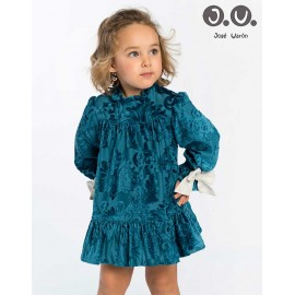 José Varón Winter Baby Girl Dress Turquoise