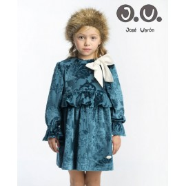 José Varón Winter Girl Dress Turquoise White Lace