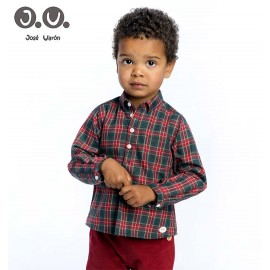 José Varón Winter Boy Shirt Red and Green Squares