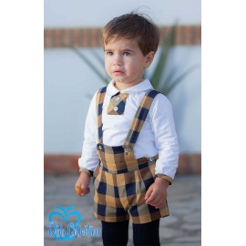 DBB Collection Winter Baby Boy Set Ocher and Navy Squares