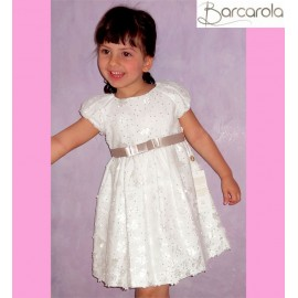 Barcarola Girl Dress White Flowers