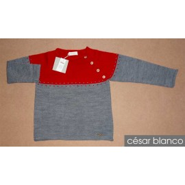 Cesar Blanco Winter Boy Sweater Gray and Red