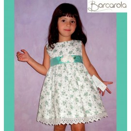 Barcarola Girl Dress Green Flowers