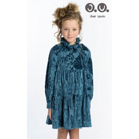 José Varón Winter Girl Dress Turquoise