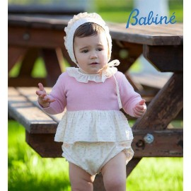 Babine Winter Baby Girl Set Pink Plumetis