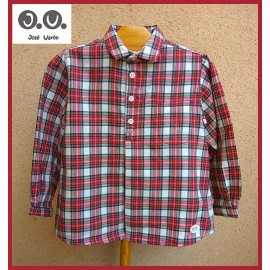 José Varón Winter Boy Shirt Red and White Squares