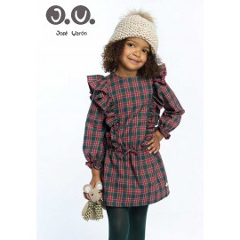 José Varón Winter Girl Dress Red and Green Squares