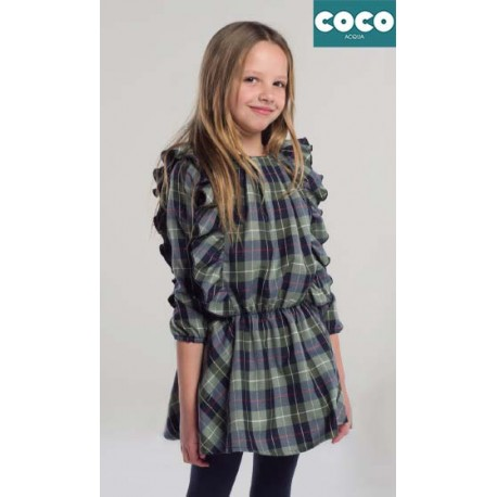 Coco Acqua Winter Girl Dress Green Squares