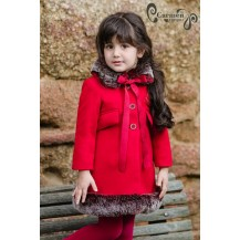 Carmen Vázquez Winter Girl Coat Red with Hair