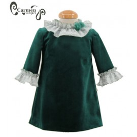 Carmen Vázquez Winter Girl Green Dress Nieve