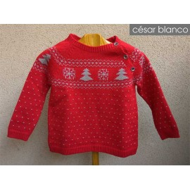 Cesar Blanco Winter Boy Sweater Red with Trees