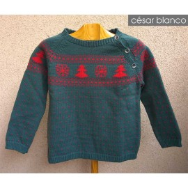 Cesar Blanco Winter Boy Sweater Green with Trees