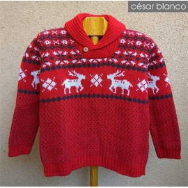 Cesar Blanco Winter Boy Sweater Red with Reindeers