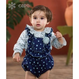 Creaciones Copo Winter Baby Girl Set Navy with Stars