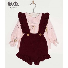 José Varón Winter Baby Girl Set Wine and Pink
