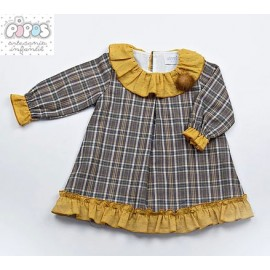 Pipos Winter Baby Girl Dress Ocher Squares