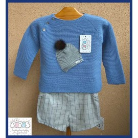 Pipos Winter Baby Boy Set Hat Blue